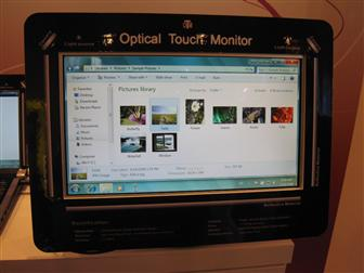 A monitor with Quanta's Optical Touch Screen technology