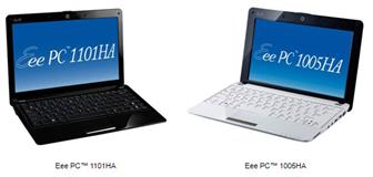 11.6-inch Eee PC 1101HA and 10.1-inch Eee PC 1005HA netbooks