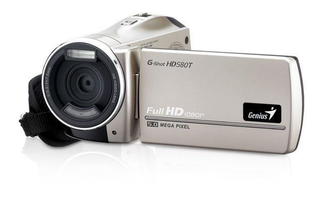 Genius' G-Shot HD580T is a 1080p full HD dual camcorder with a 3-inch wide touch panel