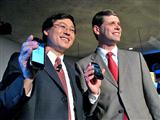 Lenovo chairman Yang Yuanqing (left) and president Rory Read pose with the LePhone