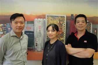 Mean Well executives: Alfie Yu (left), Yvonne Chen (center) and Alex Tsai (right)