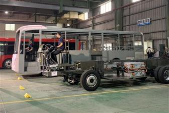 An electric bus chassis (front) made by Tron-e Technology