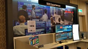Samsung displays its curved displays at the event, marking its foray into the B2B market