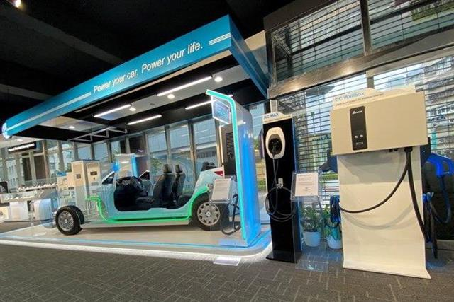 Exhibition of EV power charging piles developed by Delta Electronics (right)